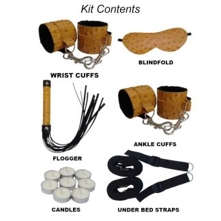 Gold Ostrich Fur Lined Bondage Kit with under the bed straps