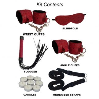 Red Ostrich Fur Lined Bondage Kit with under the bed straps
